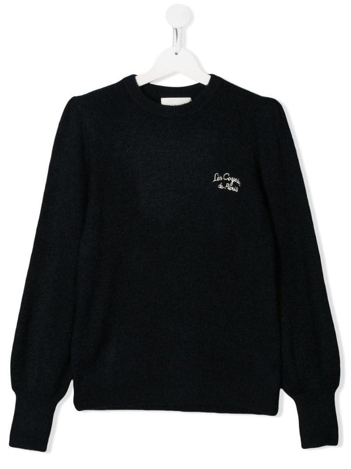 Les Coyotes De Paris Teen Embroidered Logo Sweater - Blue