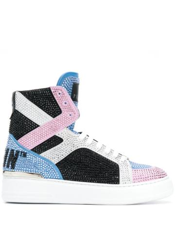 Philipp Plein Crystal-embellished High-top Sneakers - Black