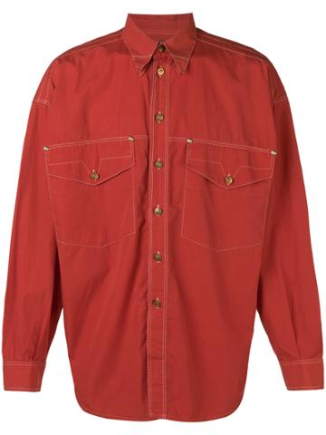 Versace Vintage Double Collar Shirt - Red