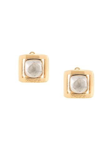 Chanel Pre-owned 1998 Autumn Logo Square Earrings - Gold