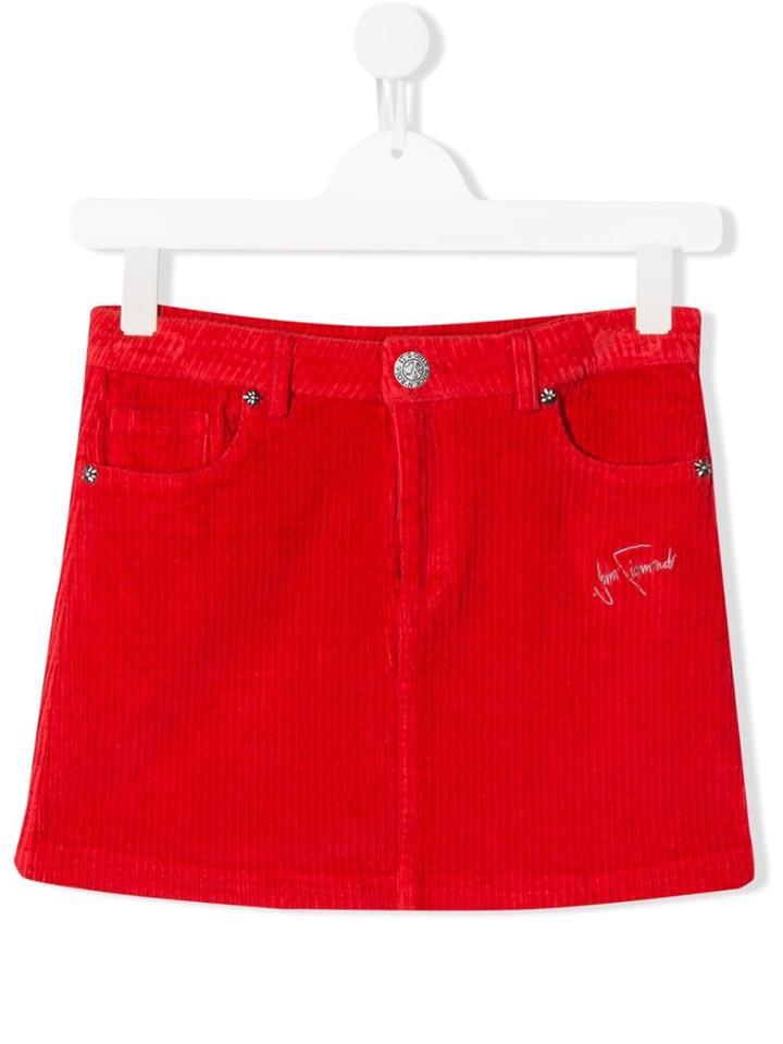John Richmond Junior Teen Corduroy Short Skirt - Red