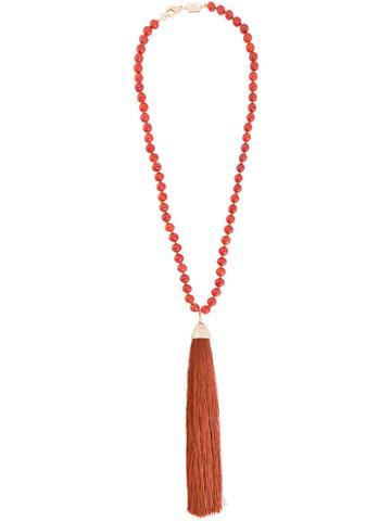 Rosantica Platea Beaded Tassel Necklace, Women's, Brown