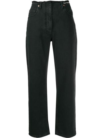 Valentino Embroidered Quote Raw Hem Jeans - Black