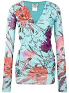 Fuzzi Floral Print Blouse - Blue