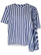Sacai Striped Pleated Panel T-shirt - White