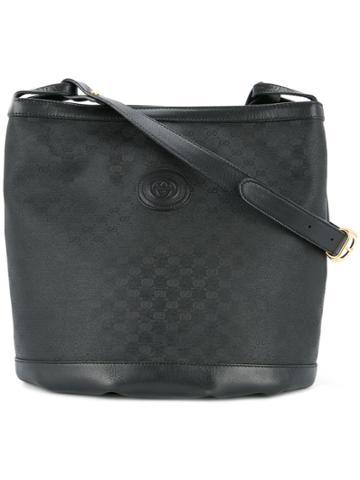 Gucci Vintage Gg Pattern Shoulder Bag - Black