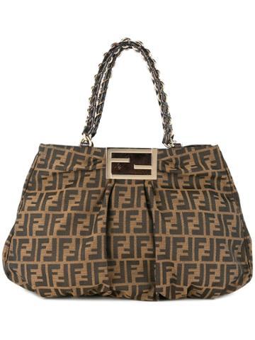 Fendi Vintage Zucca Pattern Chain Handbag - Brown