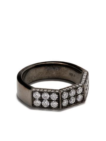 As29 18kt Black Gold Deux Double Half Octagonal Diamond Ring
