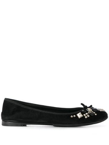 Prada Pre-owned 2000s Studded Ballerinas - Black