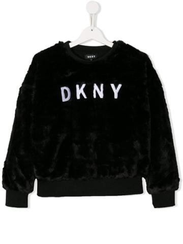 Dkny Kids Logo Fur Sweatshirt - Black