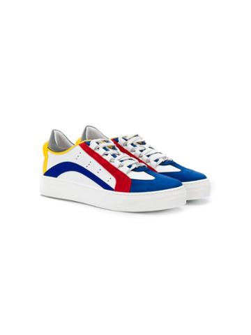 Dsquared2 Kids Teen Colour Block Lo-top Sneakers - White