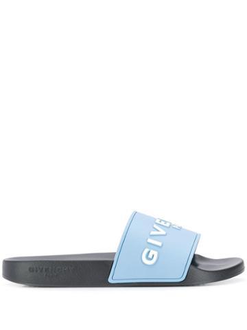 Givenchy Logo Printed Sliders - Blue
