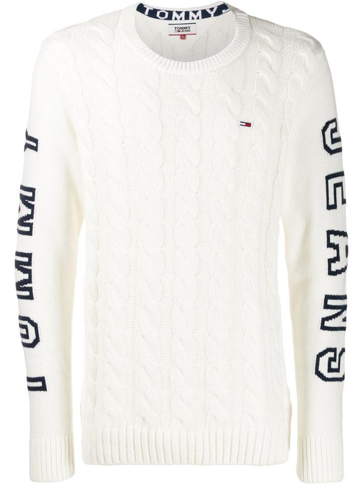 Tommy Jeans Panelled Cable-knit Jumper - White