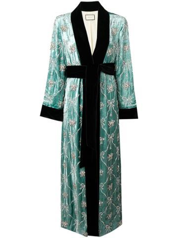 Gucci Embellished Robe Coat - Green