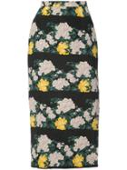 Rochas Floral Print Pencil Skirt - Black