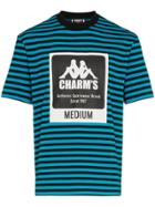 Charm's Logo Printed Striped Cotton-blend Tshirt - Blue
