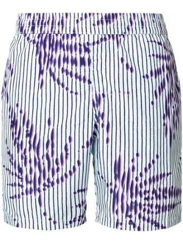 La Perla Striped Palm Tree Swim Shorts - Pink & Purple