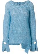 Aviù Button Cuff Jumper - Blue