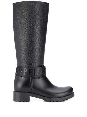 Philipp Plein Logo Strap Knee-high Boots - Black