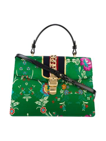 Gucci - Medium Sylvie Floral Print Bag With Top Handle - Women - Silk Satin/leather/metal - One Size, Green, Silk Satin/leather/metal