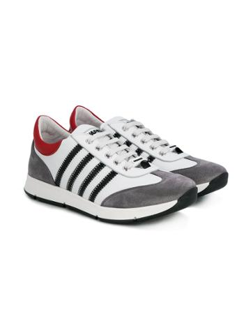 Dsquared2 Kids Teen Striped Runners - White