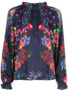 Cynthia Rowley Roseland Ruffle Neck Blouse - Multicolour