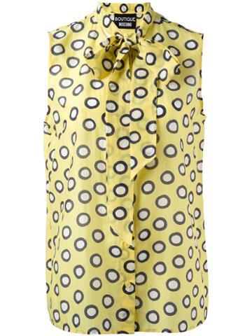 Boutique Moschino Tied Neck Sleeveless Shirt, Women's, Size: 40, Yellow/orange, Silk/cotton