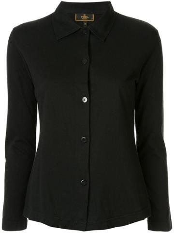 Fendi Pre-owned Logo Embroidered Shirt - Black