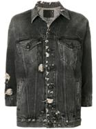 R13 Distressed Denim Jacket - Black