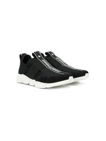 Dsquared2 Kids Logo Print Strap Sneakers - Black