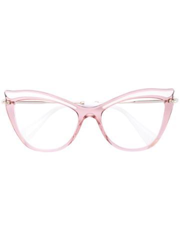 Miu Miu Eyewear - Cat Eye Glasses - Women - Acetate/metal - 53, Pink/purple, Acetate/metal