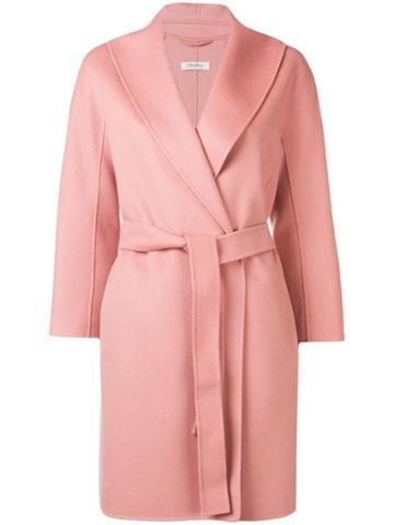 's Max Mara Belted Wool Coat - Pink
