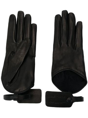 Off-white Vintage Driving Style Gloves - Black