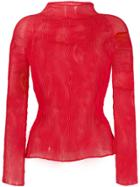 Issey Miyake Pleated Long-sleeve Top - Red