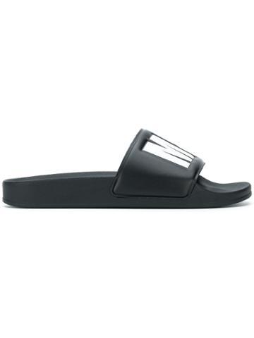Msgm Logo Embossed Slides - Black
