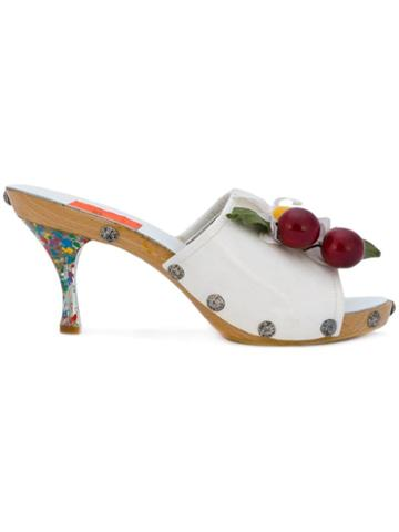 Christian Lacroix Pre-owned Summer Daisy & Cherry Mules - White