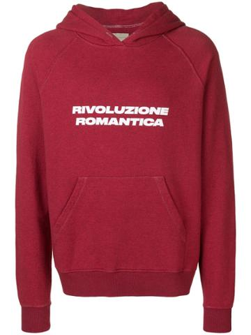 Paura 'revolucione Romantica' Printed Hoodie - Red