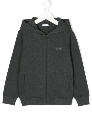 Dolce & Gabbana Kids - Zip-up Hooded Sweatshirt - Kids - Cotton/calf Leather/zamac - 10 Yrs, Grey