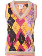 Christian Dior Vintage Argyle Print Knit Top