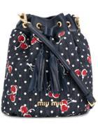 Miu Miu Cherry Print Bucket Bag - Blue