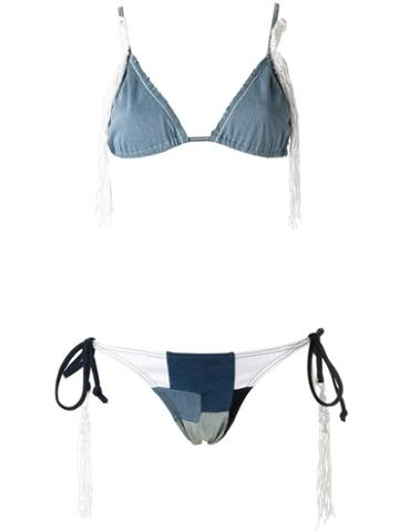 Amir Slama - Triangle Bikini Set - Women - Elastodiene - M, Blue, Elastodiene