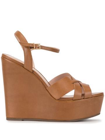 Schutz Platform Wedge Sandals - Brown