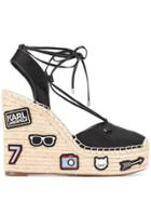 Karl Lagerfeld Patched High Wedge Sandals - Black