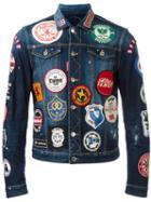 Dsquared2 Patch Detail Jean Jacket, Men's, Size: 44, Blue, Spandex/elastane/cotton