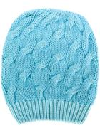 Cruciani Cable Knit Beanie - Blue