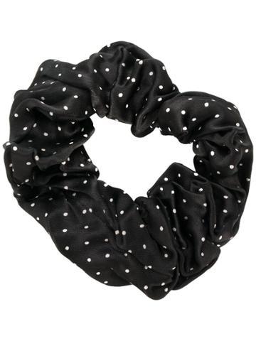 Ganni Polka Dot Satin Scrunchie - Black