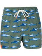 Sun 68 Shark-print Swim Shorts - Green