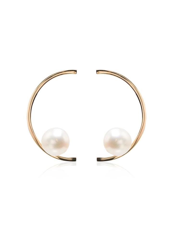 Mateo 14k Yellow Gold Half Moon Pearl Earrings - Metallic