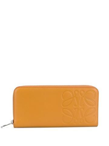 Loewe Embossed Logo Stamp Zipped Wallet - Brown