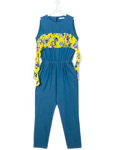 Msgm Kids Floral Panel Jumpsuit - Blue
